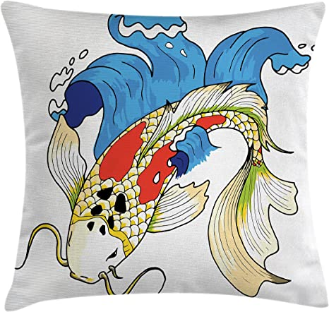 Amazon Com Ambesonne Koi Fish Throw Pillow Cushion Cover Mystical Koi Common Carp Fish In Waves Chinese Sea Creature Eastern Image Decorative Square Accent Pillow Case 20 X 20 Blue Home Kitchen