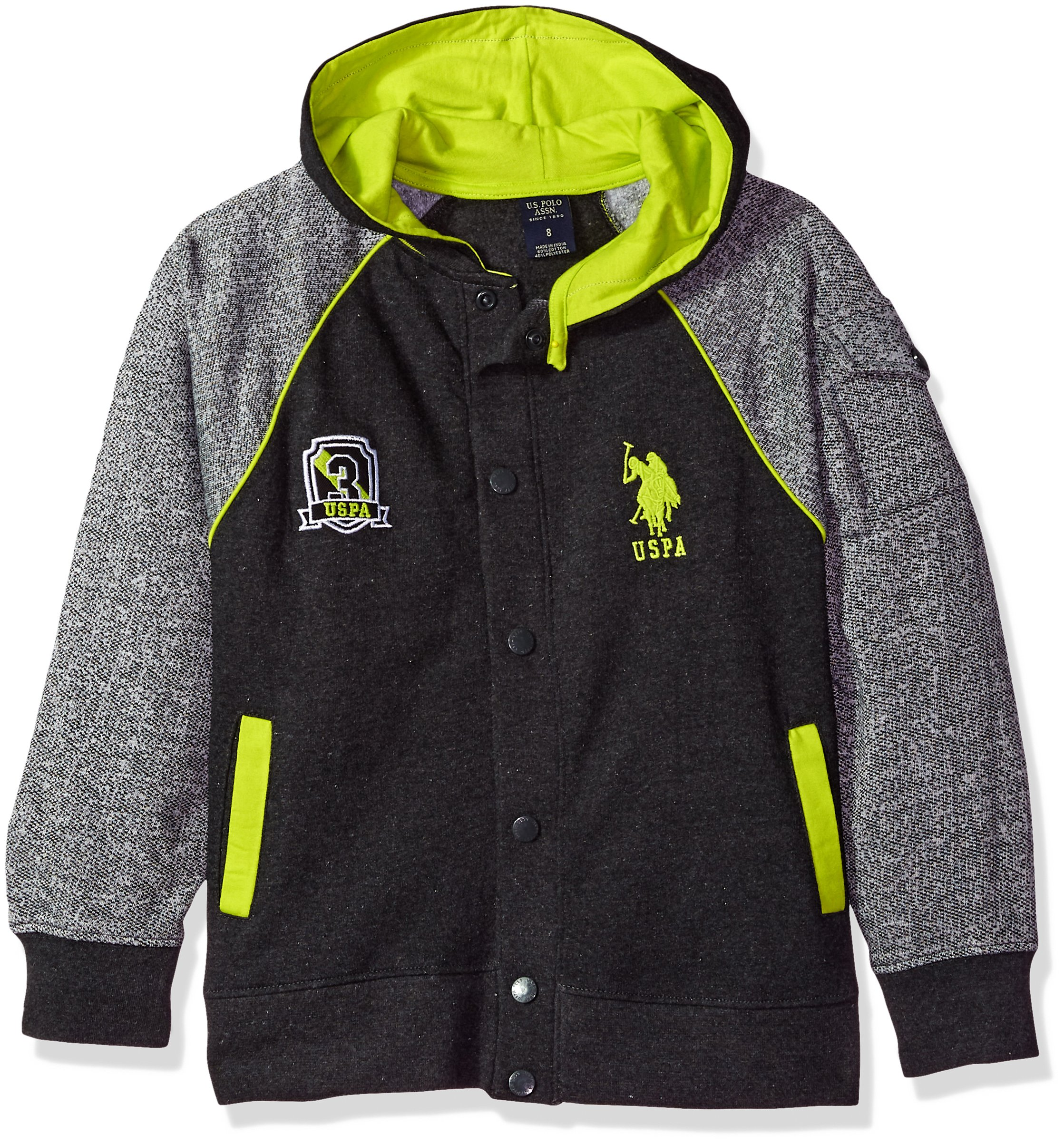 U.S. Polo Assn. Big Boys' Long Sleeve Button up Fleece Hoodie, Dark Heather Gray, 18