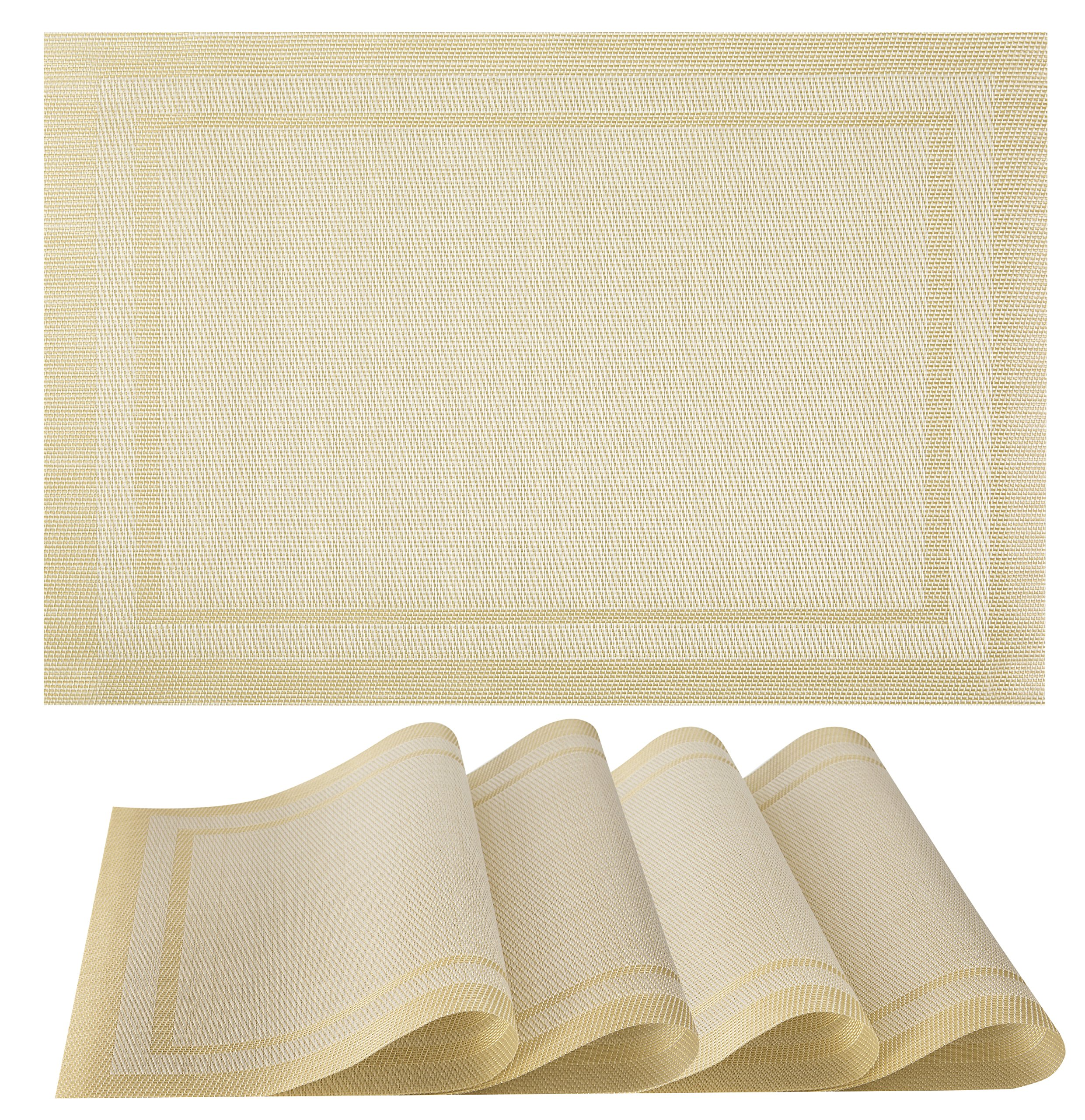 Placemats Set of 4| Vinyl PVC Placemat Table Mats | Non slip | Heat Resistant (Beige) - A STYLISH ELEMENT TO YOUR TABLE SPREAD: Our beautiful set of 4 placemats will jazz up your dining tables, we have a wide variety of multiple colours and designs to choose from which makes them the perfect decoration piece for Christmas parties and for your festive table. HIGH QUALITY MATERIALS: KeKe placemats will protect your table from stains and scratches; they can be rolled up or flatted easy. Our mats are made out of 70% PVC and 30% polyester which are environmentally friendly. Out table mats are very durable, non-slip, no fading and heat resistant. They are safe to use, simple and easy to keep clean. THE PERFECT SIZE FOR ALL TABLES: Each mat measures L46xW30cm, Suitable for entertaining, home parties, family gatherings, everyday dining, restaurants or coffee shops. Our placemats come as a pack of 4 weighing 0.4KG. Each mat approx 1 millimetres thickness; stack them together for easy and minimal storage space. - placemats, kitchen-dining-room-table-linens, kitchen-dining-room - A1IYbHcnHJL -