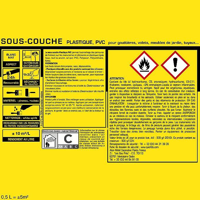 Sous Couche JULIEN Pour Plastiques, PVC   Blanc Mat 0,5L: Amazon.fr:  Bricolage