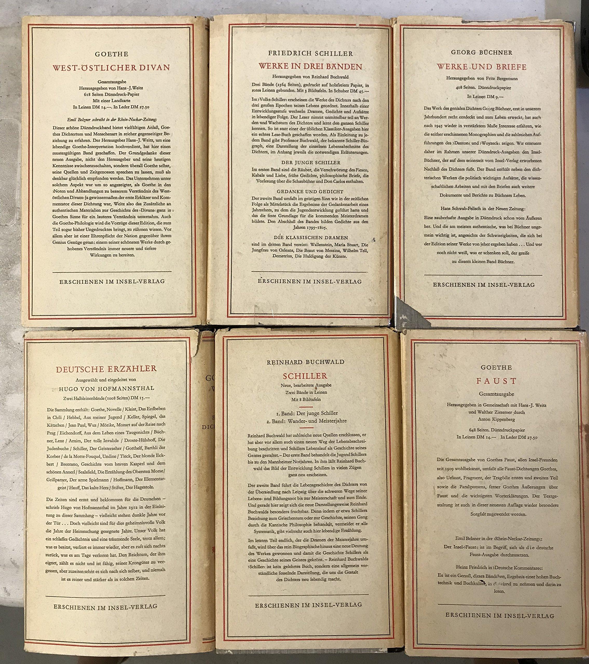 Goethes Werke In Sechs Bänden Band 1 Gedichte Faust 2
