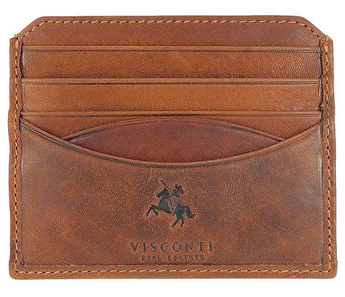 Visconti, cartera de piel de alta calidad, compacta, con ranuras para tarjetas de crédito marrón canela: Amazon.es: Ropa y accesorios