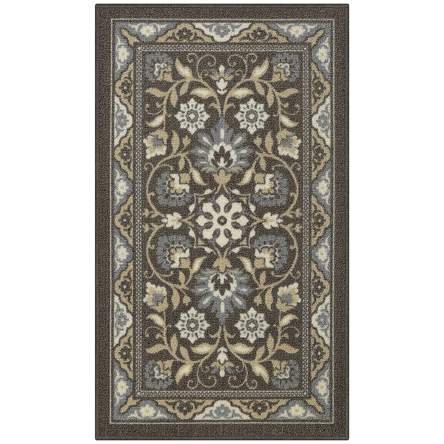 for Entryway and Bedroom Maples Rugs Kitchen Florence 18 x 210 Non Skid Washable Throw Rugs Blue Made in USA