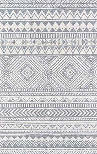 Momeni Mallorca Hand Hooked Wool Grey Area Rug 9' X 12'