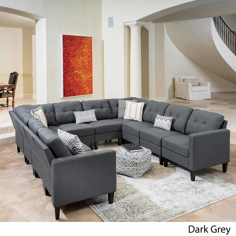 Emma Mid Century Modern 10 Piece Dark Grey Fabric U-Shaped Sectional Sofa