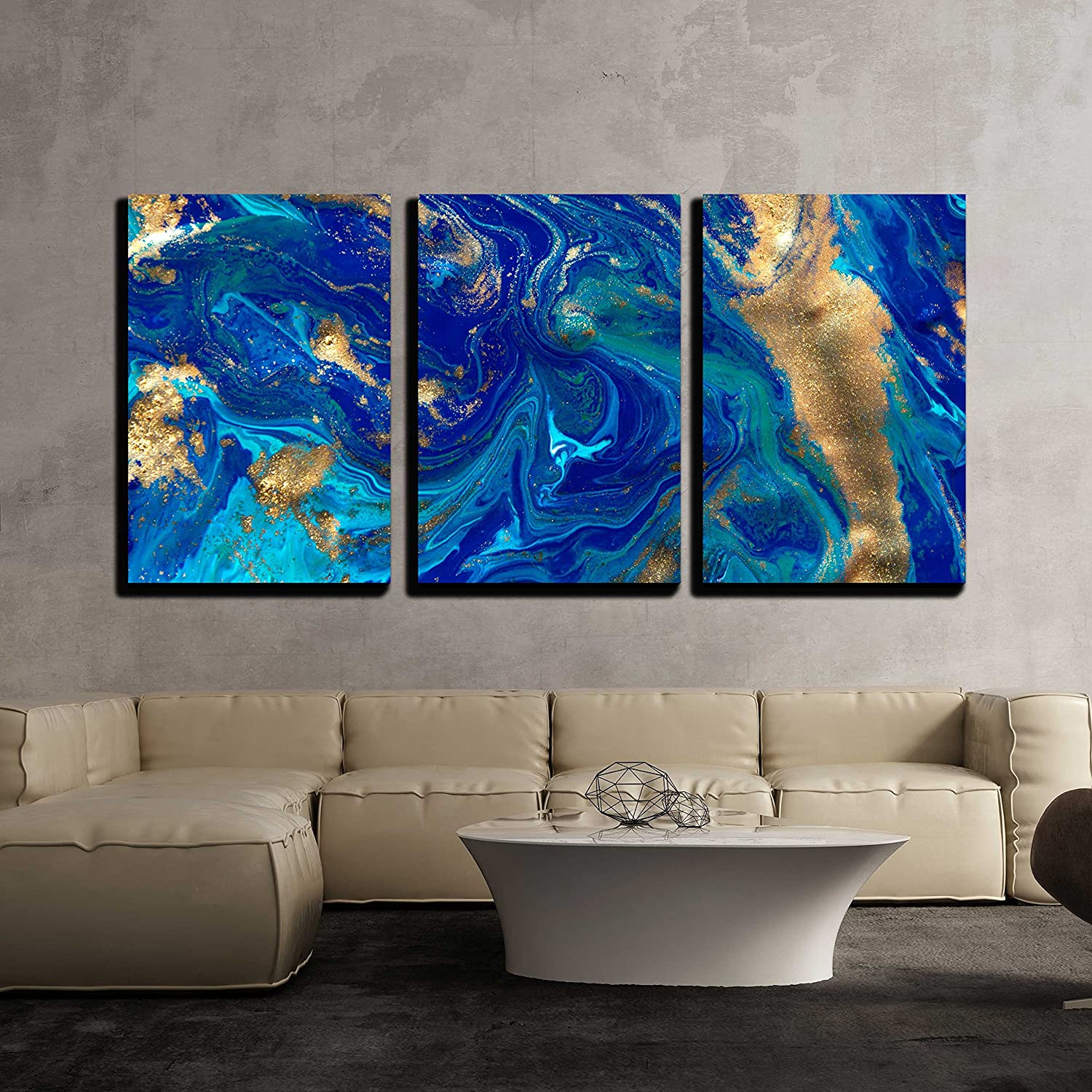 """wall26 - 3 Piece Canvas Wall Art - Marbled Blue Abstract Background. Liquid Marble Pattern. - Modern Home Decor Stretched and Framed Ready to Hang - 16""""x24""""x3 Panels"""