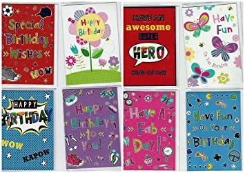 Pack Of 8 Assorted Funky Word Design Birthday Cards Ideal For Boys