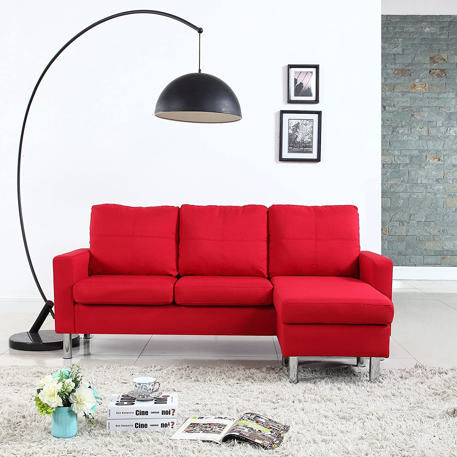 Pleasant Modern Small Space Reversible Linen Fabric Sectional Sofa In Color Light Grey Dark Grey Beige Red Red Machost Co Dining Chair Design Ideas Machostcouk