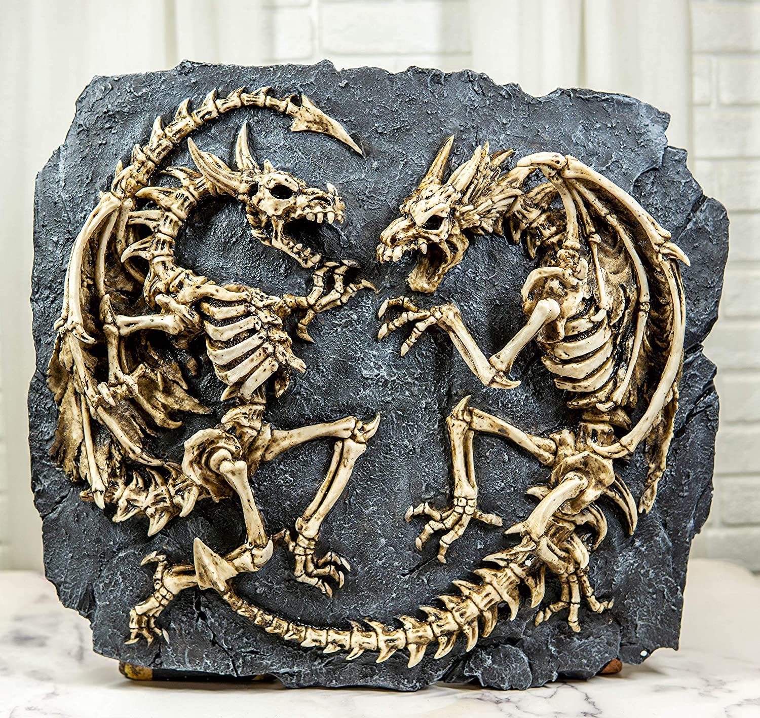Ebros Gift Faux Fossil Rock With 2 Fighting Skeletal Dragons Skeletons Wall Decor Plaque Medieval Renaissance Legends Dragon Ossuary Macabre Hanging Sculpture