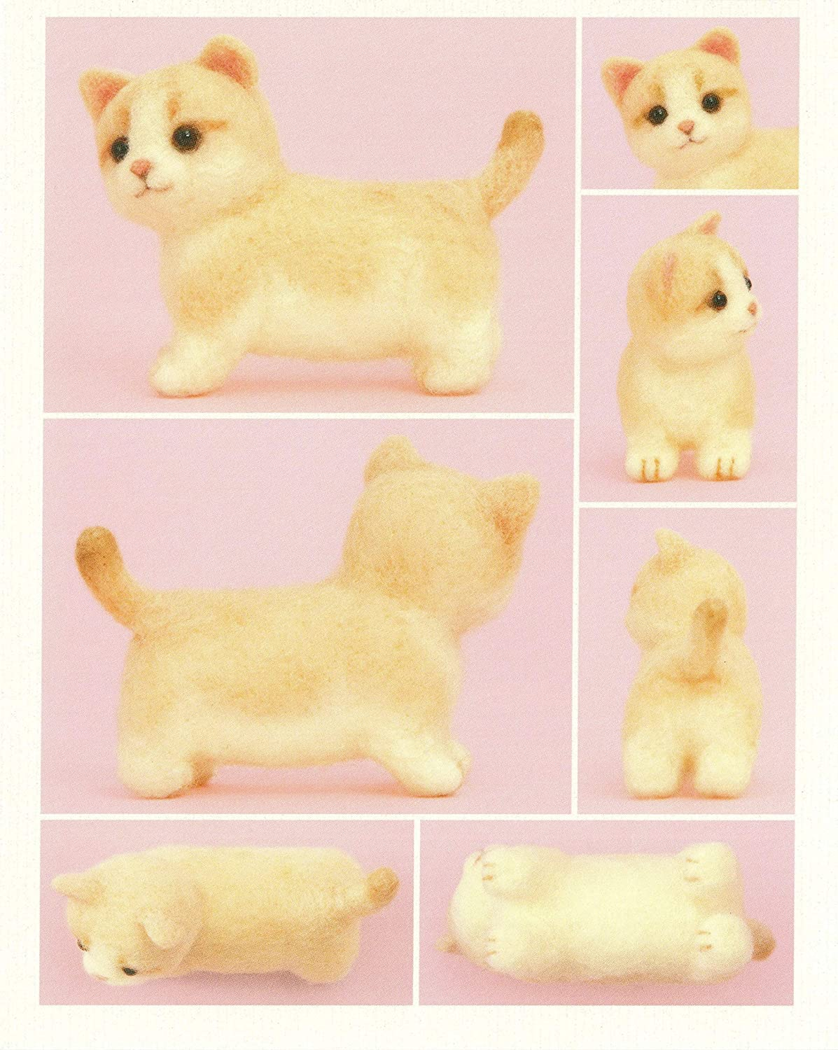 Cool Beans Boutique Needle Felting DIY Kit Imported from Japan with English Instructions WFKit-HM-28Munchkin-2 Beige Munchkin Cat