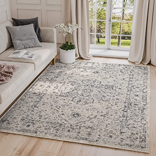 Abani Rugs 7 9 x 10 2 Grey Blue Geometric Floral Motif Area Rug – Troy Collection Distressed Style Accent Rug