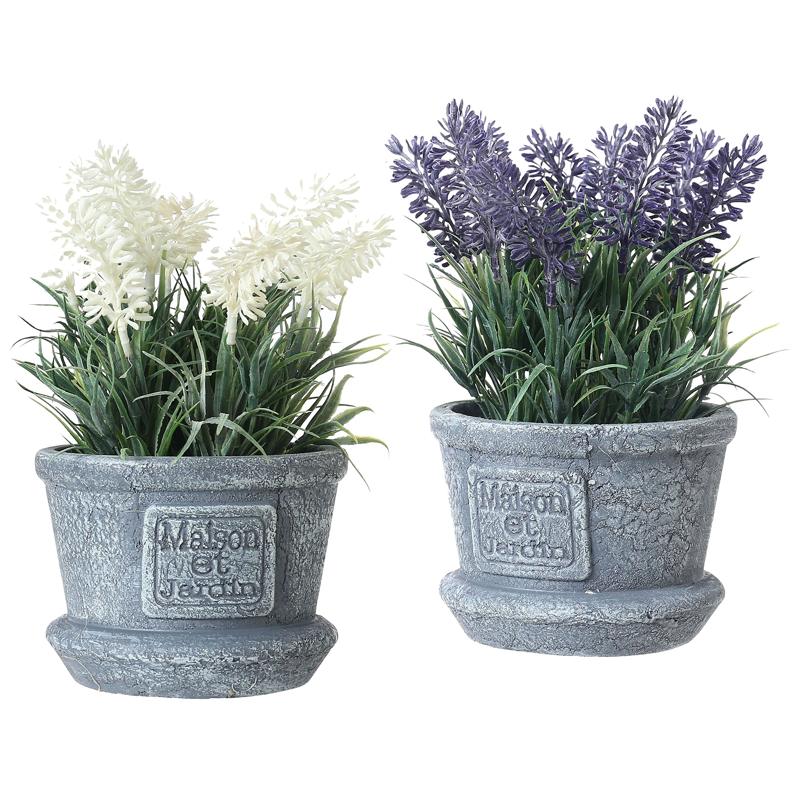 Decorative Artificial White & Purple Lavender Flower Plants in Cement Textured Planter Pots