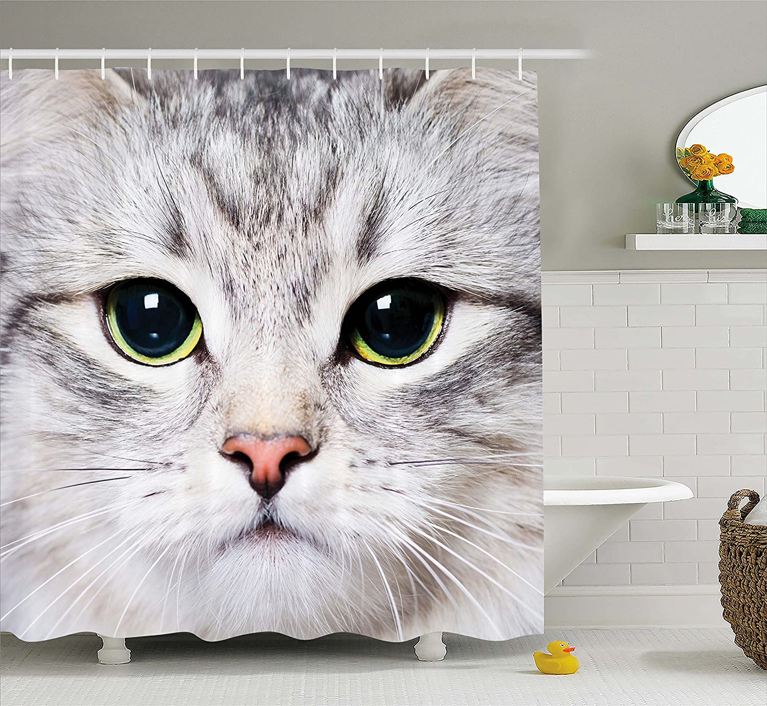 Cat Decorations Gray Shower Curtain Cute Cat Print Kitten Kitty Closeup Portrait Picture Digital Photography Lovely Pet Polyester Fabric Shower Curtain
