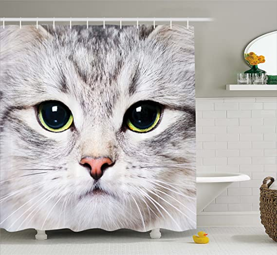 Cat Shower Curtain Cute Funny Kitty Coffee Made In USA Great Decoration Gift For Bathroom Christmas Ideas