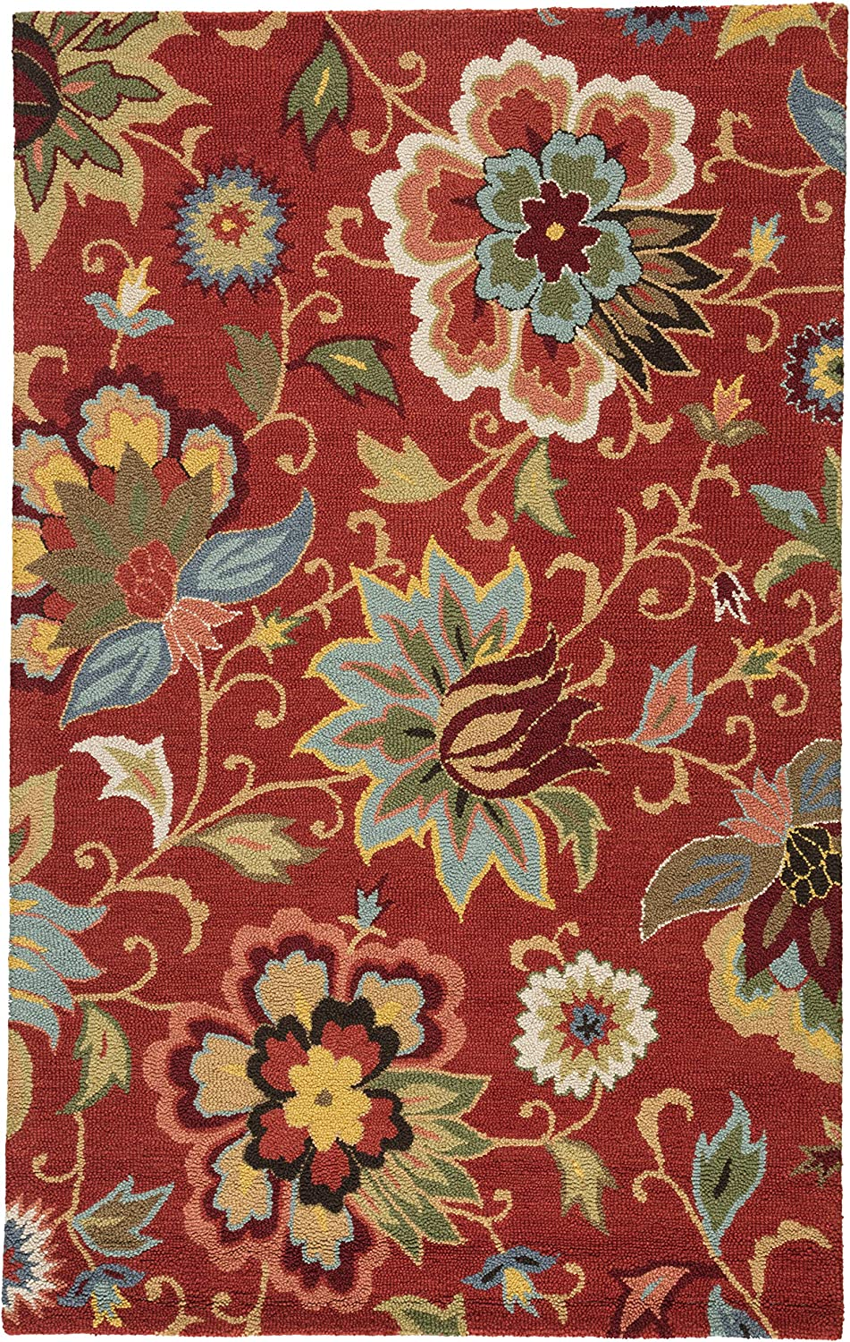 Amazon Com Jaipur Living Zamora Hand Tufted Floral Leaves Red Area Rug 3 6 X 5 6 Furniture Decor