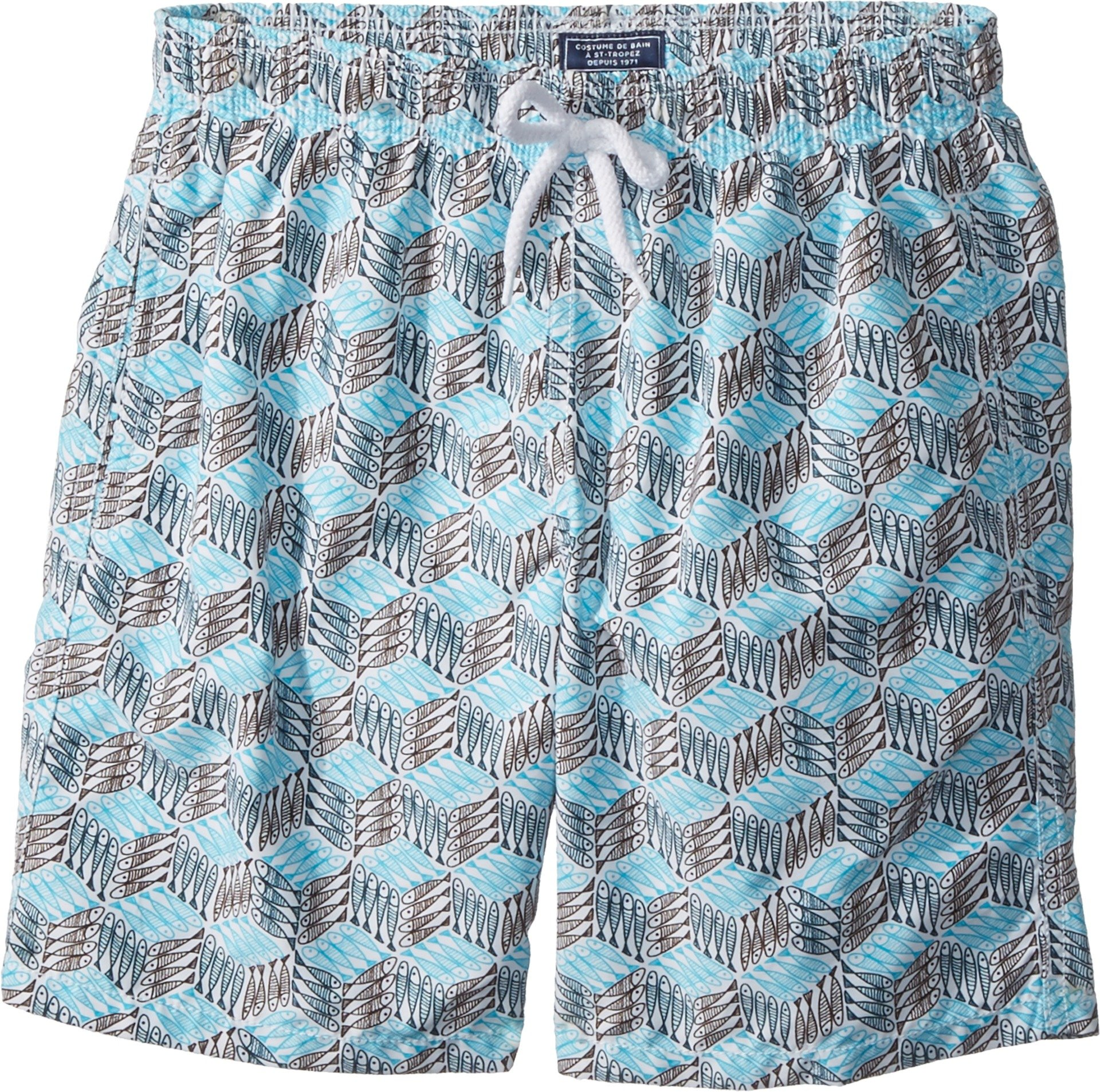 Vilebrequin Kids Boy's Fishes Cube Swim Trunk (Big Kids) Grey/Blue 10 Years by Vilebrequin Kids (Image #1)