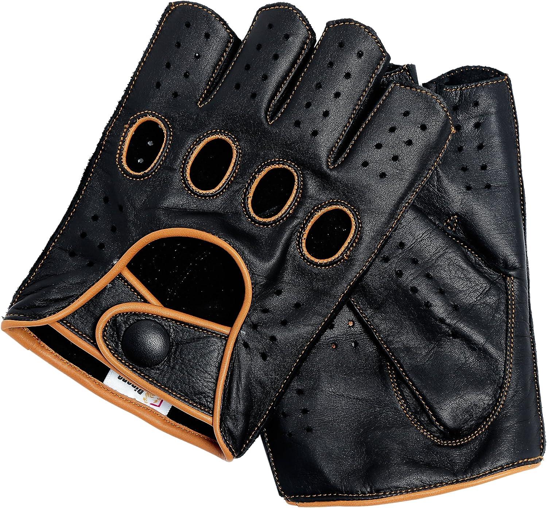 Riparo Herren-Motorradhandschuhe aus Leder zum Autofahren halbe Finger fingerlos umgekehrt