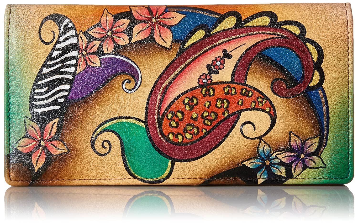 Anuschka Handpainted Leather 1714-TBQ-Y Ladies Wallet Snap Button Closure Animal Butterfly Grey Anna by Anuschka 1714-ANB-G