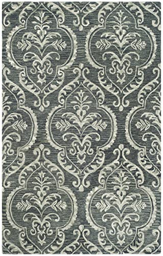Safavieh Blossom Collection Blue and Sage Premium Wool Area Rug, 5 x 8