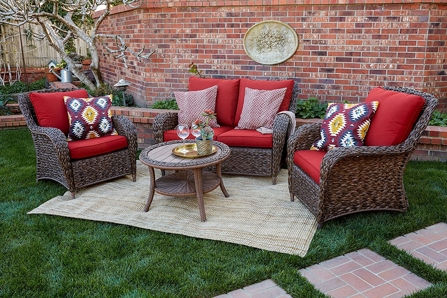 Quality Outdoor Living 65-517109A Stonecrest All-Weather Wicker 4 Piece Deep Seating Set, Brown Red Cushions