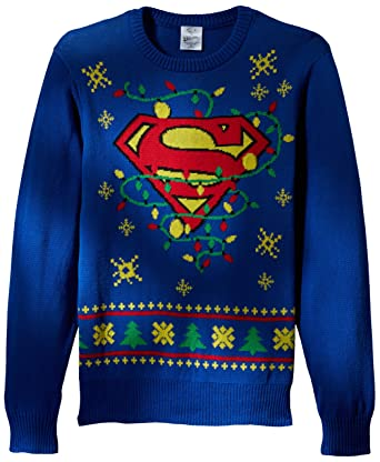 DC Comics Batman Men's Superman Logo Ugly Christmas Sweater with Led Lights,  Blue, Large - DC Comics Batman Men's Superman Logo Ugly Christmas Sweater With Led