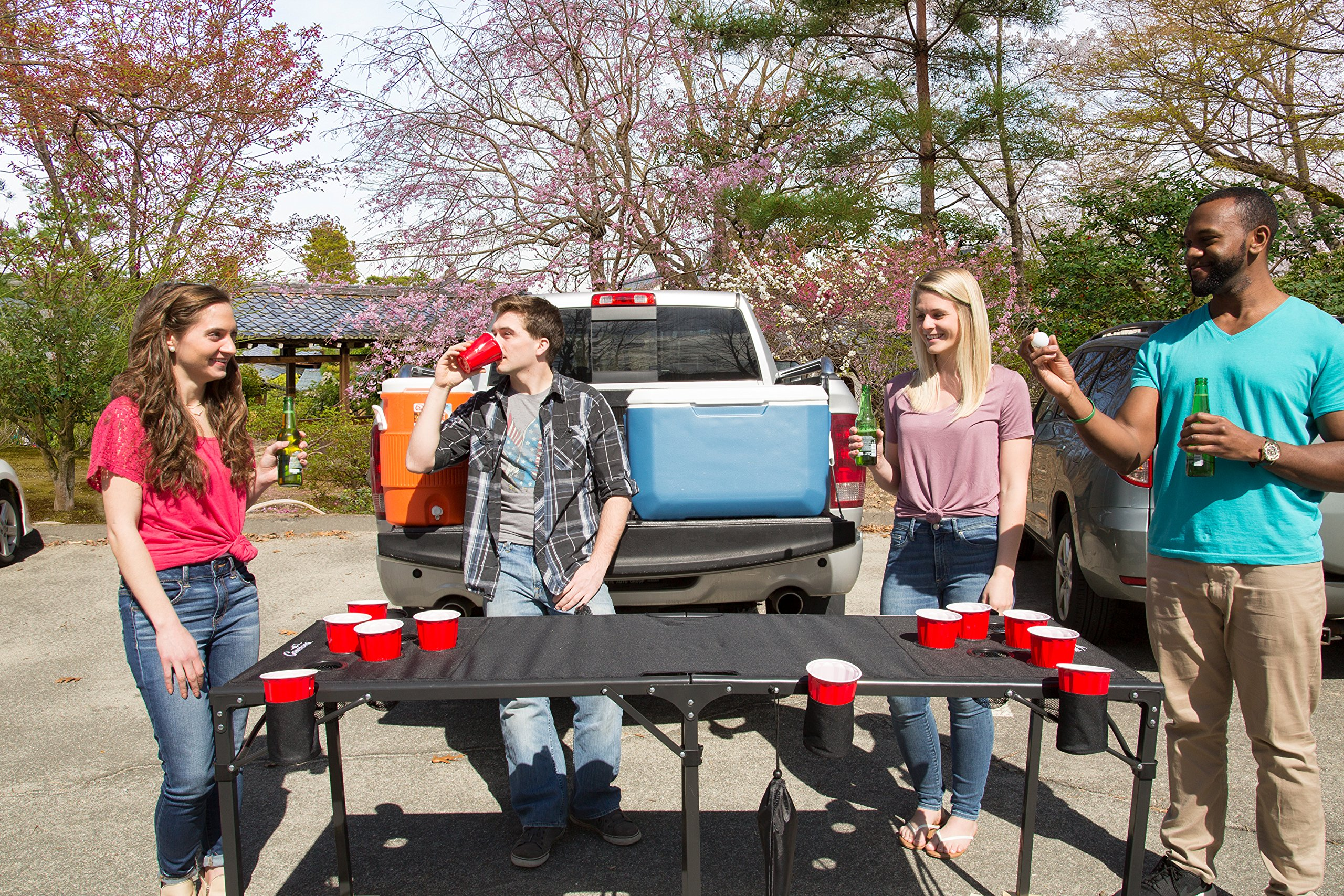 Camerons Portable Beer Pong Table- Collapsible Regulation Size Beirut Table w Cup Holders, 6 Balls, Stakes and Travel Bag by Camerons (Image #4)