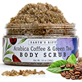Arabica Coffee & Green Tea Body & Facial Scrub. 100% Natural Skin Care Formula Helps Improve Complexion and Fights Acne and Cellulite. Antioxidant Rich