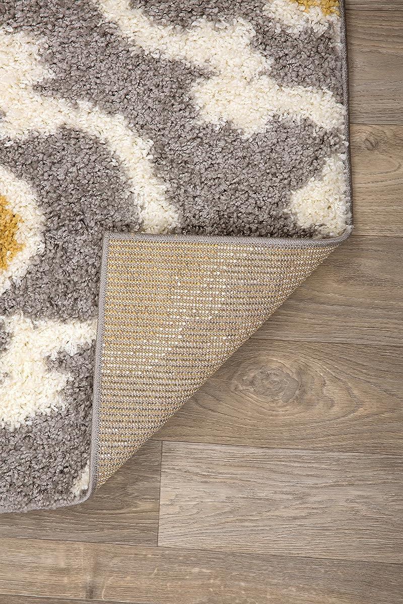"Rugshop Cozy Moroccan Trellis Indoor Shag Area Rug, 53"" x 73"", Yellow"