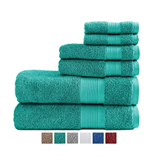 TRIDENT Soft & Plush 100% Cotton Towels, 6 Piece Set - 2 Bath Towels, 2 Hand Towels, 2 Washcloths, Super Soft and Highly Absorbent (Teal)