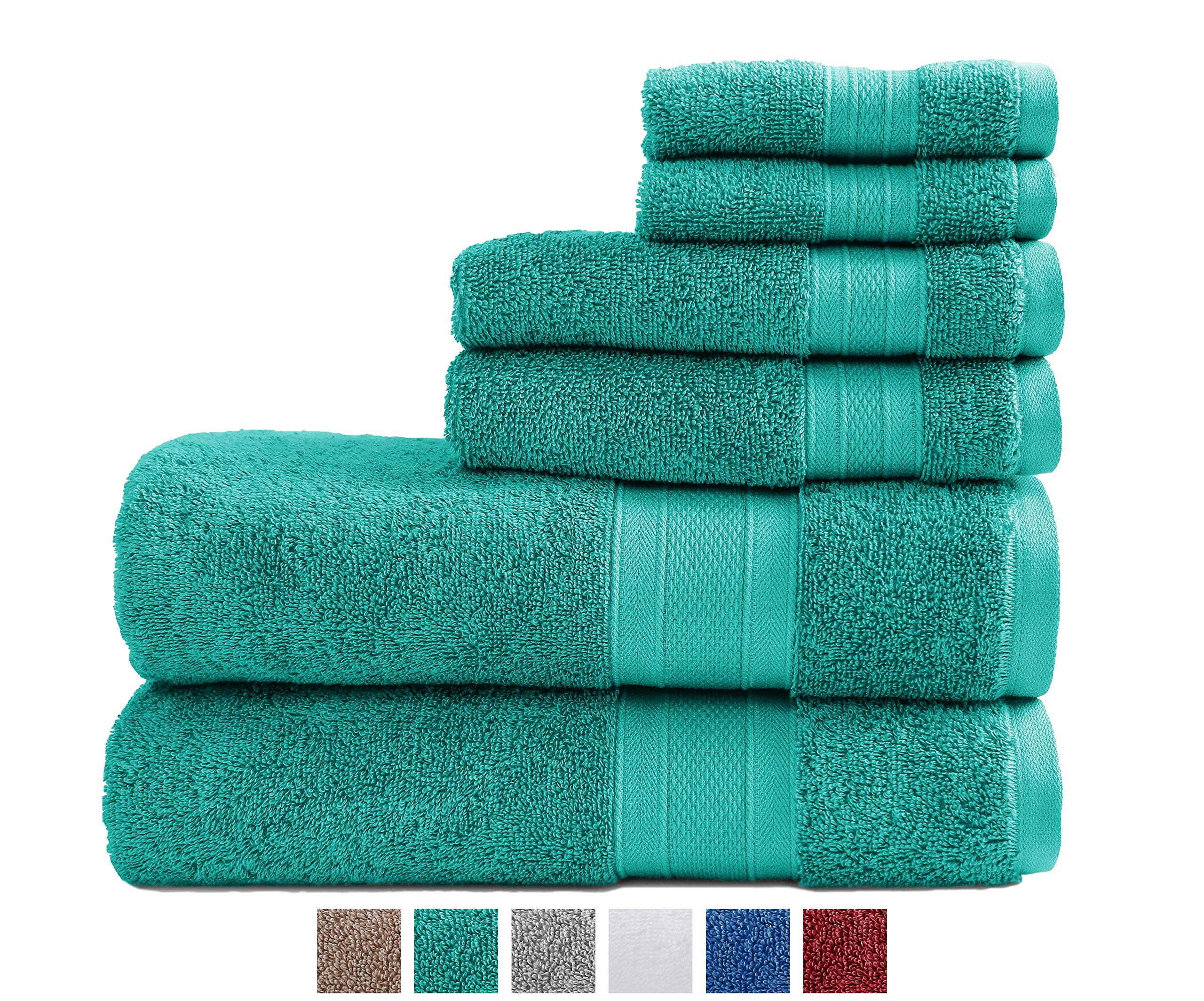Trident 100% Cotton Towels, 6 Piece Set - 2 Bath Towels, 2 Washcloths, 2 Face Towels, Super Soft and Highly Absorbent, Soft & Plush Bath Towels, 14 lbs/dzn (Teal)
