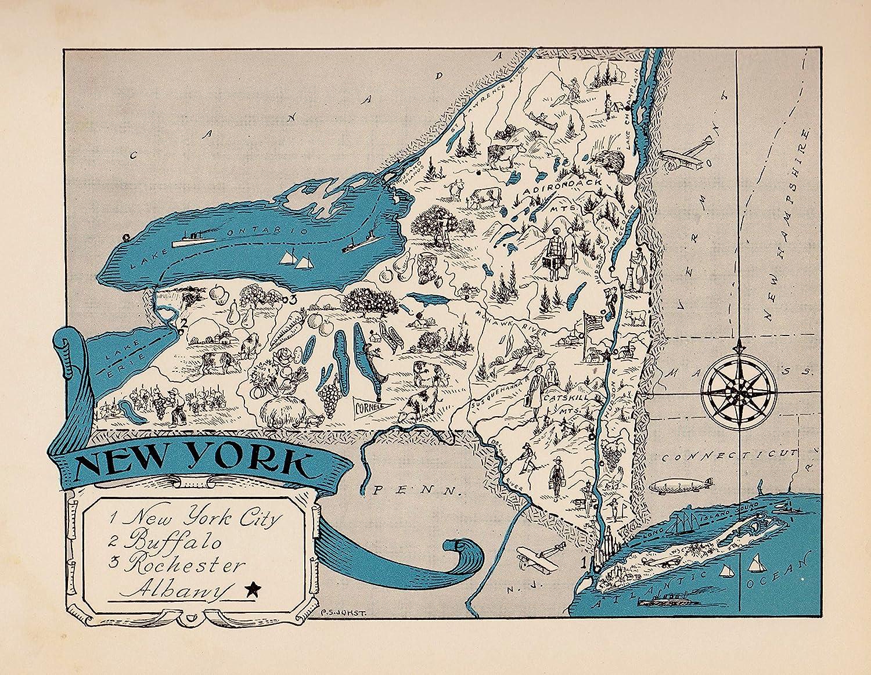 Cartoon Map Of New York City.Amazon Com Vintage New York State Map 1930s Blue Cartoon Map Of New