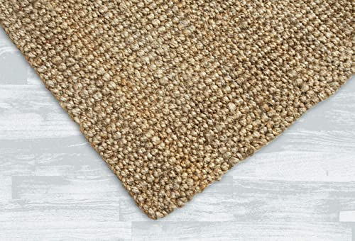 Iron Gate Handspun Jute Area Rug 4×6 Hand Woven by Skilled Artisans, 100 Natural Jute Yarns, Thick Ribbed Construction, Reversible for Double The wear, Rug pad Recommended