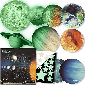 Amazon.com: Pegatinas de pared con sistema solar brillante ...