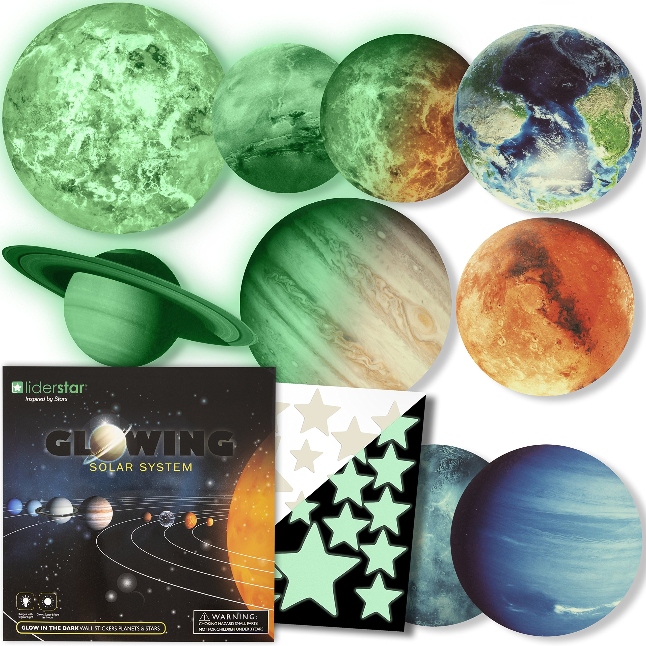 Glow in The Dark Stars and Planets, Bright Solar System Wall Stickers -9 Glowing Ceiling Decals for Kids Bedroom Any…