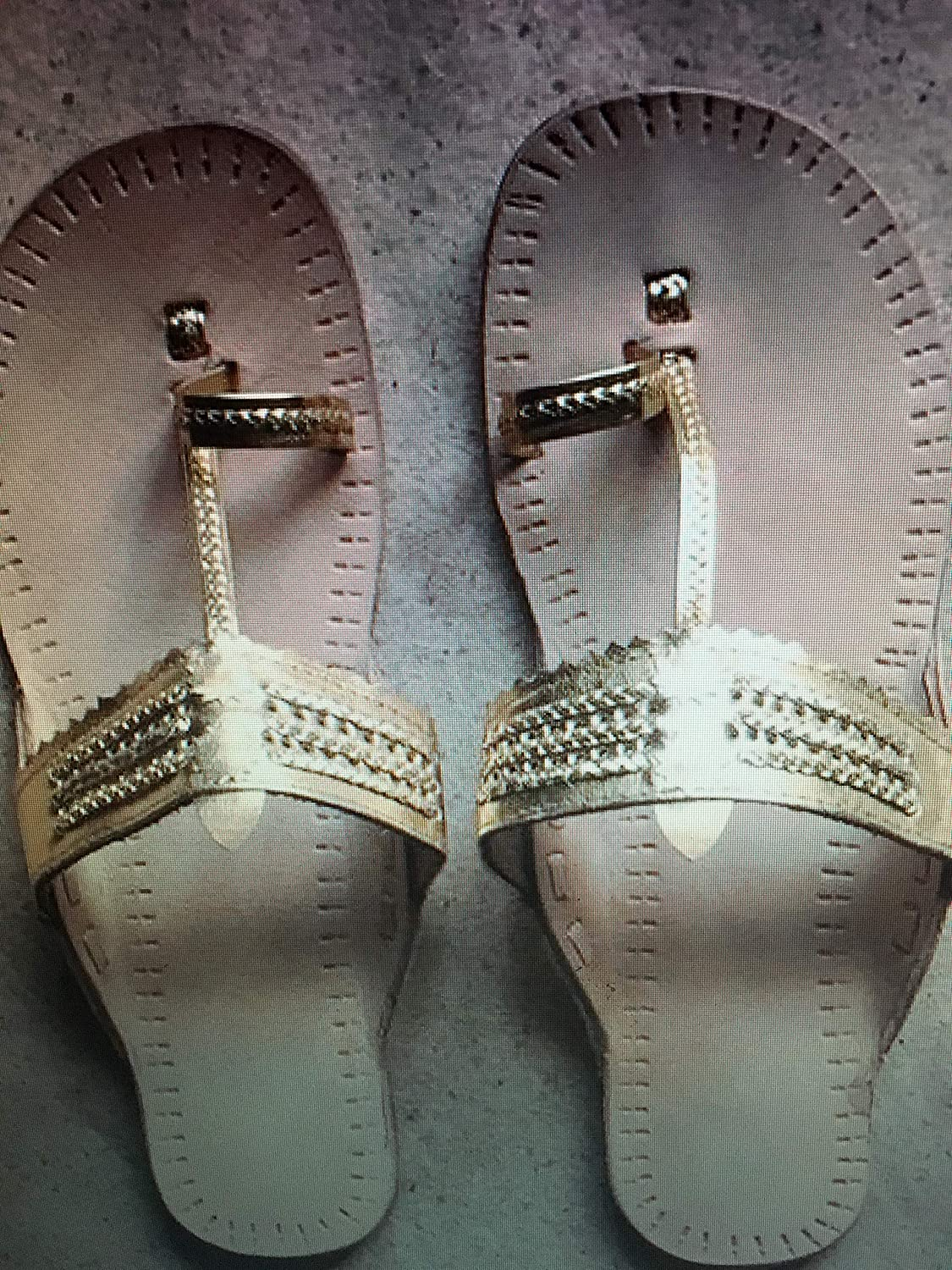 cb59175ec Silver & Gold Wedding Decorated Flip Flop, Sandals Flat Thong Slippers  Beach sandals, Wedding Sandals, Comfortable Wedding Shoe Flat sandals real  Leather