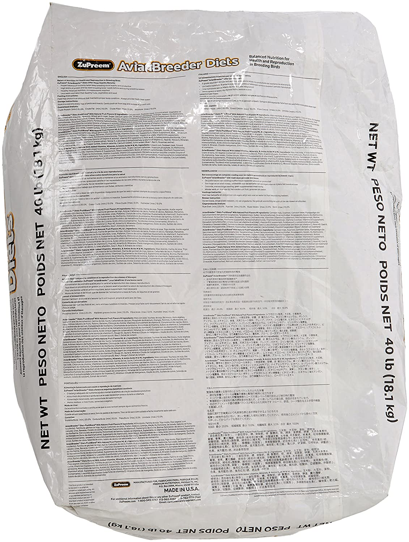 Amazon.com : ZUPREEM 230154 Avian Breeder Fruitblend for Birds, Large, 40-Pound : Pet Food : Pet Supplies
