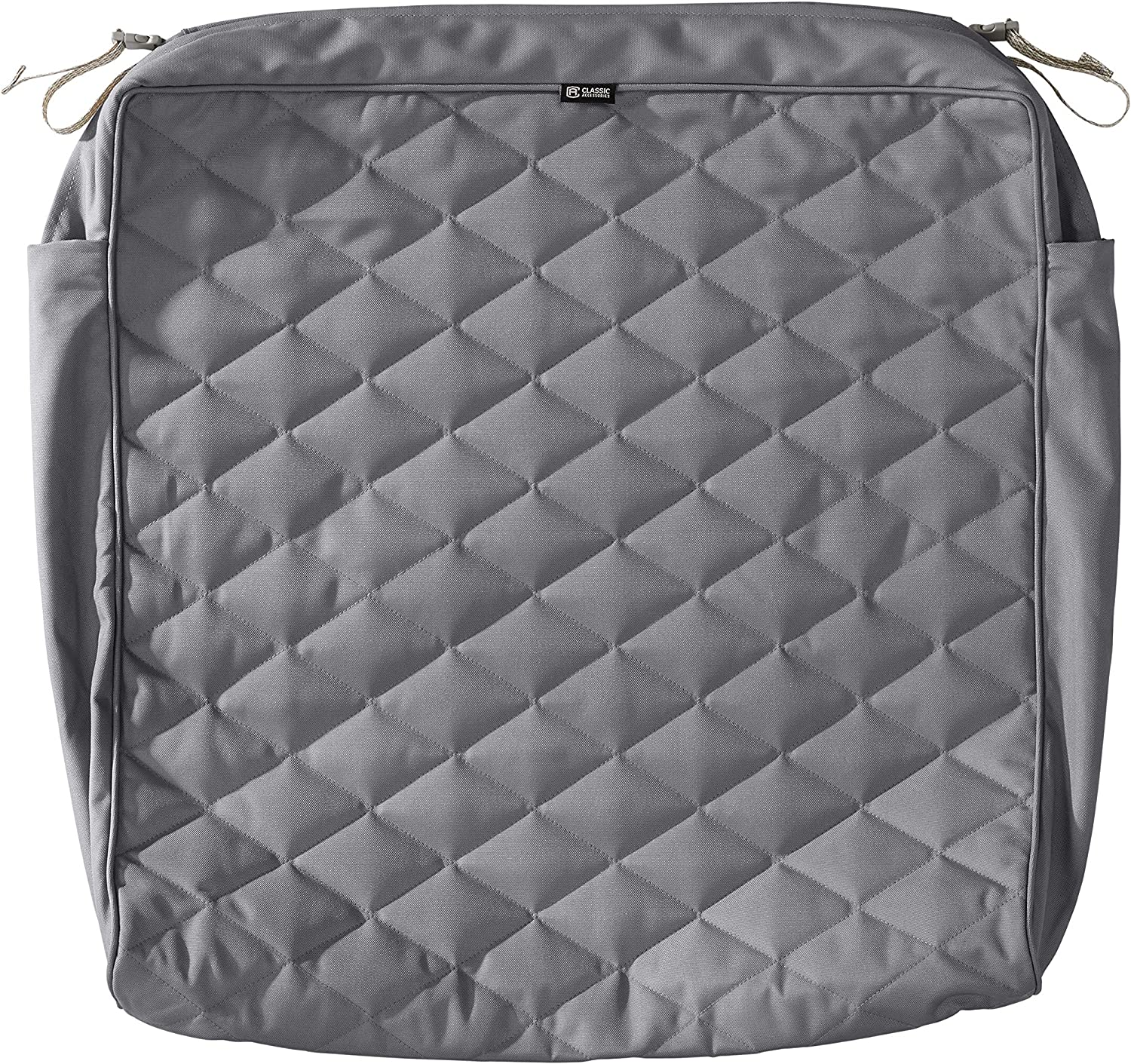 Classic Accessories Montlake Water-Resistant 25 x 27 x 5 Inch Rectangle Outdoor Quilted Seat Cushion Cover, Patio Furniture Chair Cushion Cover, Grey