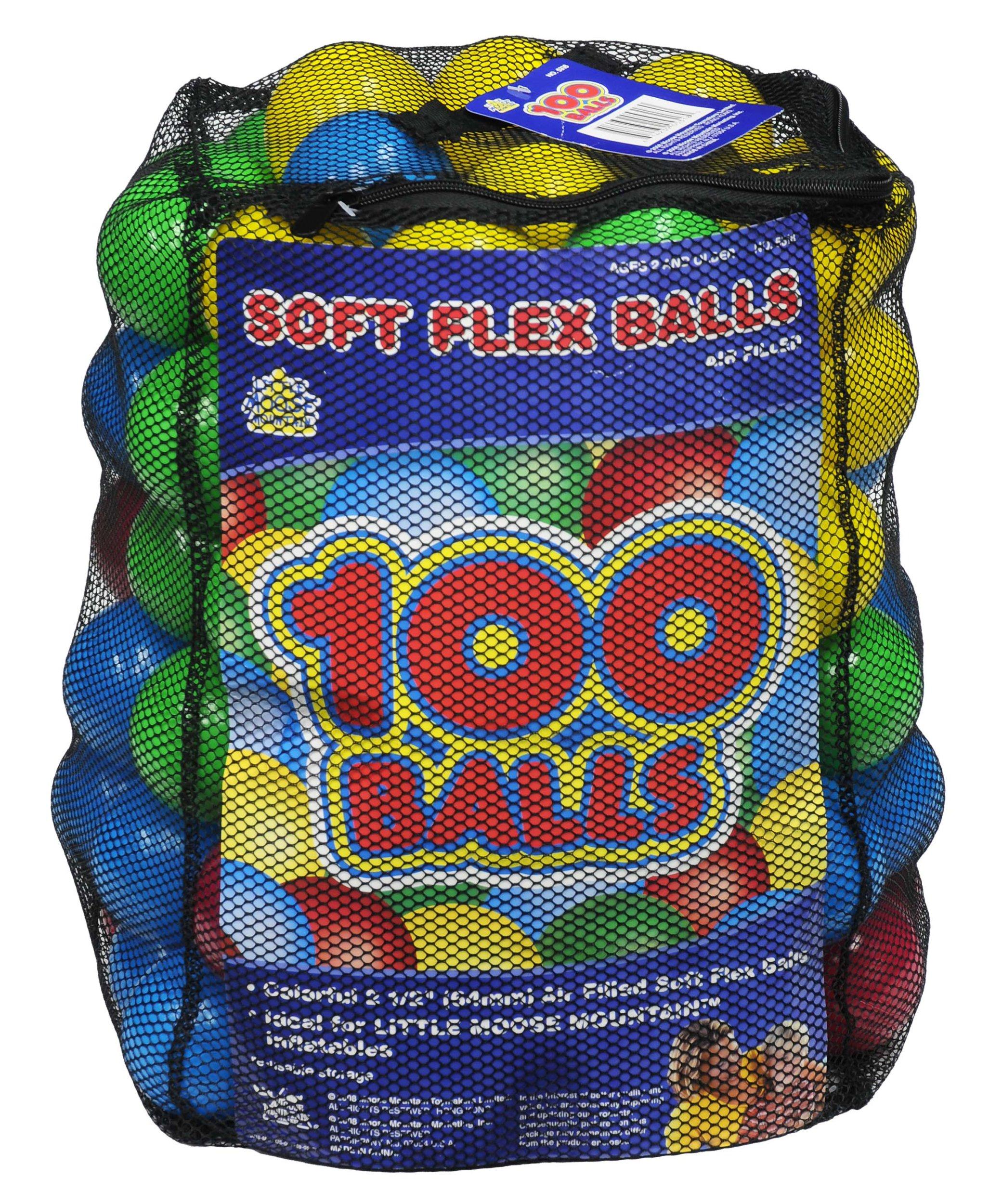 Moose Mountain, Ball Pit Balls - 100 Soft-Flex Balls in Mesh Bag, Multi Color, 12'' W x 12'' D x 12.5'' H