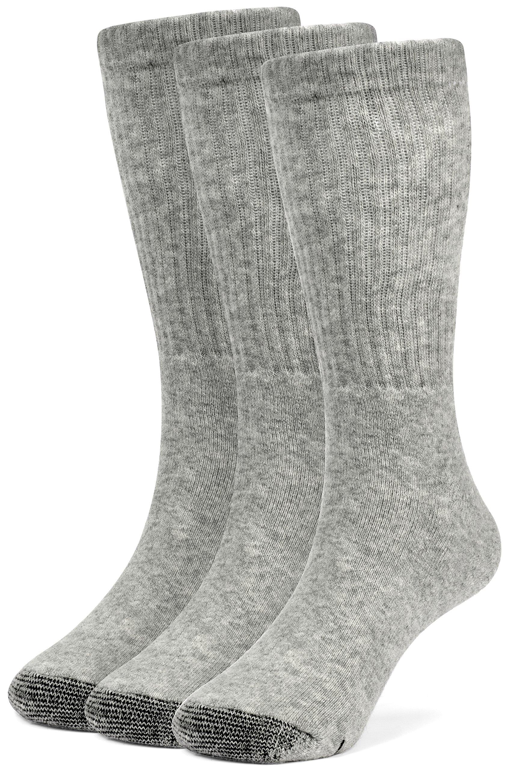 Galiva Boys' Cotton Extra Soft Crew Cushion Socks - 3 Pairs, Medium, Grey