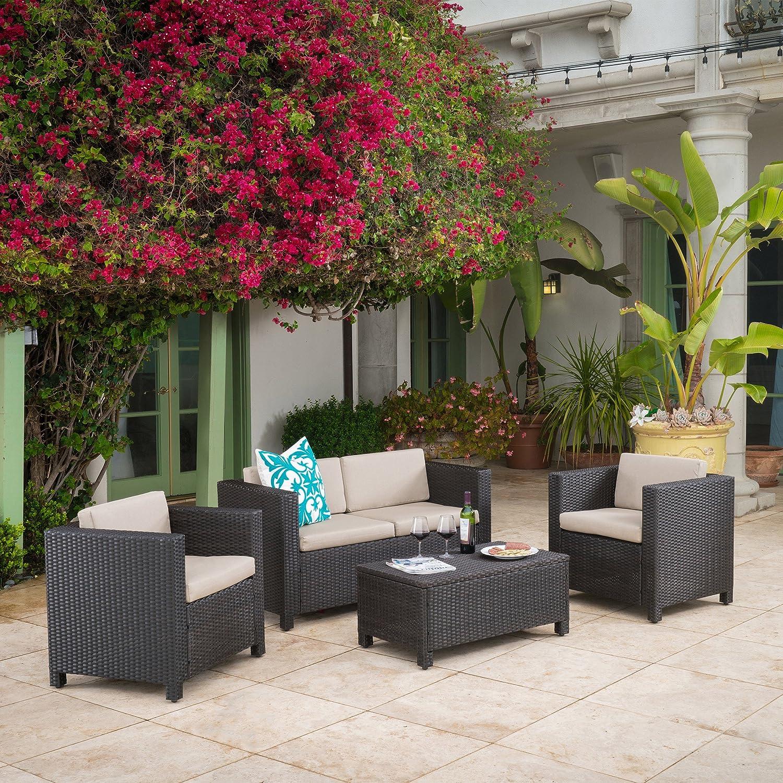 Amazon com venice outdoor wicker patio furniture dark brown 4 piece sofa set garden outdoor