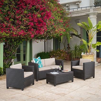 Venice Outdoor Wicker Patio Furniture Dark Brown 4 Piece Sofa Set