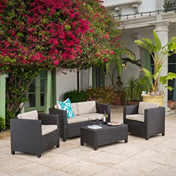 venice outdoor wicker patio furniture dark brown 4 piece sofa set