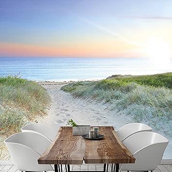 Strand nordsee sonnenuntergang  Fototapete Meer Strand Dünen 274,5 x 254cm Weg Sonnenuntergang ...
