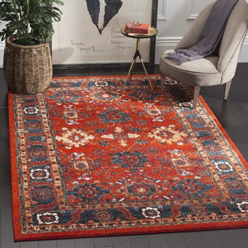 Safavieh Vintage Hamadan Collection VTH214C Oriental Antiqued Orange and Blue Area Rug 4 x 6
