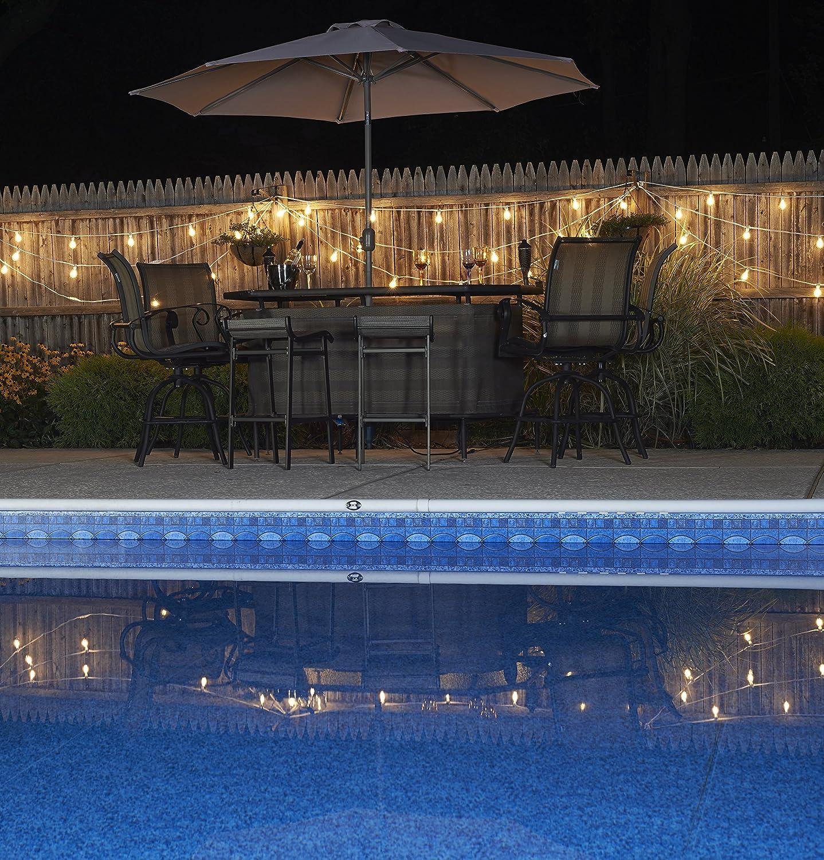 15 Lights 25-Feet Bulbrite STRING15//E12//WHITE-G16MAR-KT Outdoor Mini String Light w//Incandescent G16 Marble Etched Bulbs White