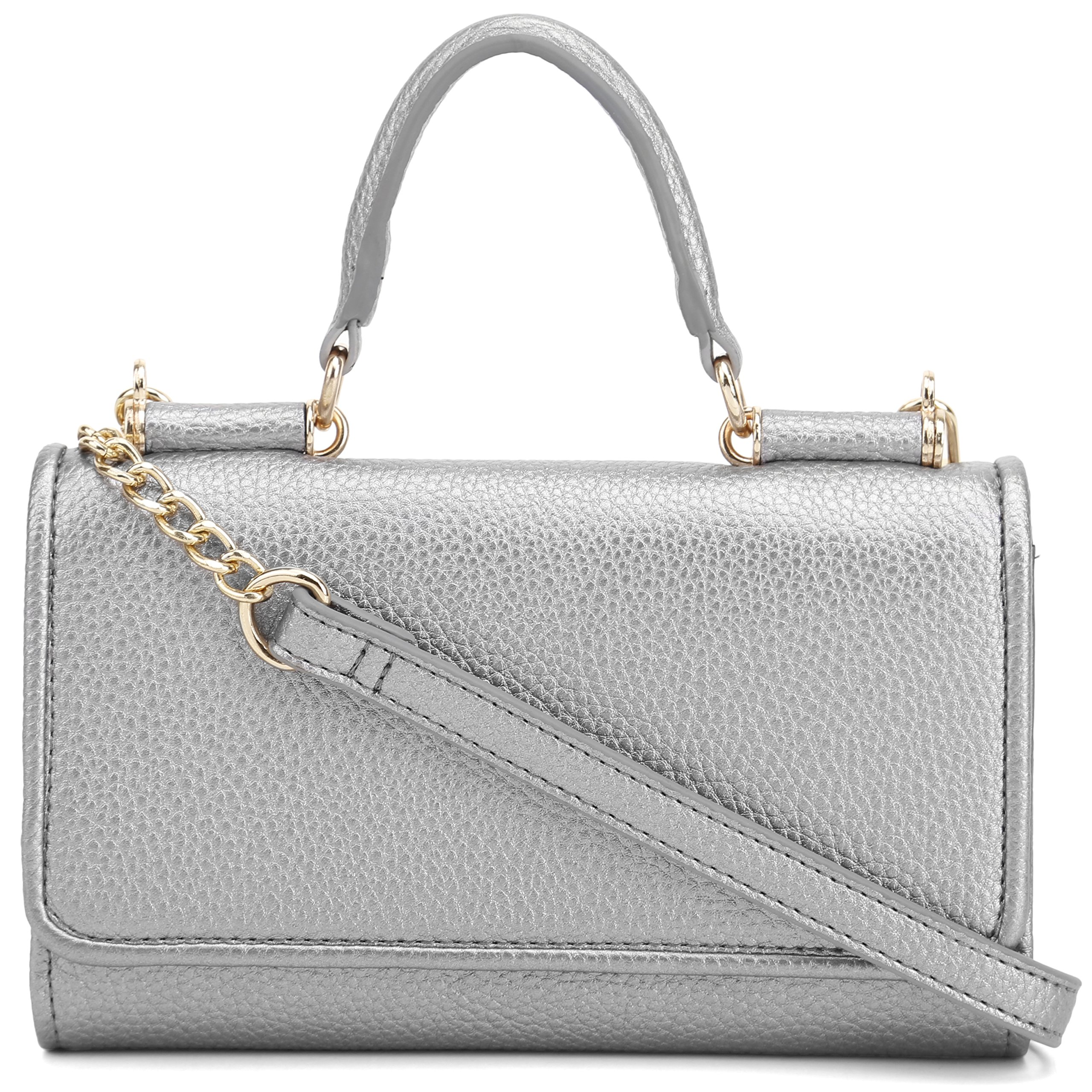 DELUXITY Top Handle Clutch Crossbody Purse with Removable Chain Strap (Platinum)
