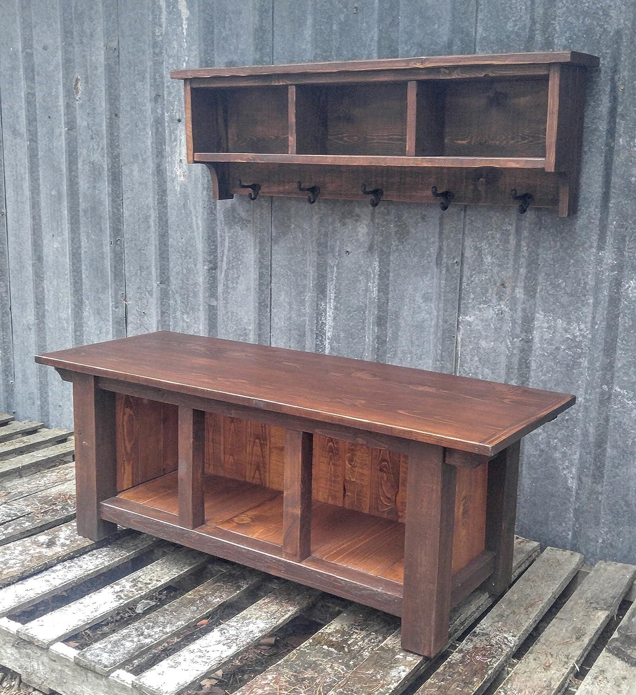 Amazon.com: Rustic Farmhouse Three Cubby Bench & Shelf Cubby Set ...