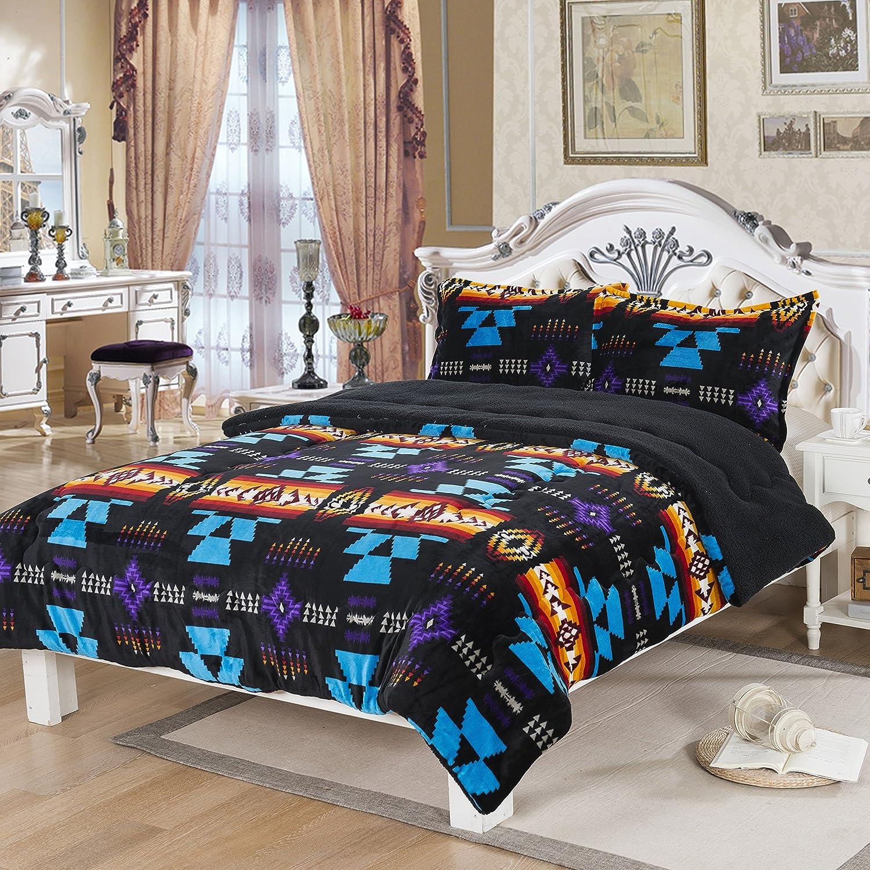 Southwest Design (Navajo Print) King Size 3pcs Set 16112 Black