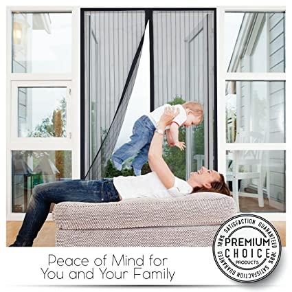 Premium WHITE Magnetic Screen Door   KEEP BUGS OUT, Let Fresh Air In.  Instant