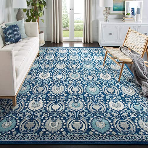 Safavieh Evoke Collection EVK251C Contemporary Blue and Ivory Area Rug 6 7 x 9